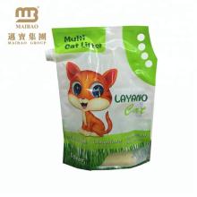 La conception de logo adaptée aux besoins du client qui respecte l'environnement imprimée tiennent le sac en plastique / papier pour la litière de chat