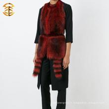 La veste en tricot à la fourrure en raquettes la plus populaire avec le capuchon en fourrure