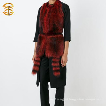 Most Popular Real Women Knitted Raccoon Fur Trim Vest With Fur Tail Hood