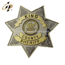 Wholesale cheap custom antique bronze security office metal badge with pin