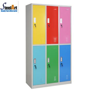 Combinaisons d'armoires en acier de couleur mélangée à 6 portes fabriquées en luoyang