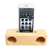 Portable Wood Mobile phone bracket Bamboo Wood Fashion Small Surround Sound Amplifier Speaker for Mobile Phone