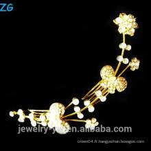 De haute qualité plaqué or princesse rhinestone fleur peignets de mariée peaux de cheveux en métal élégant