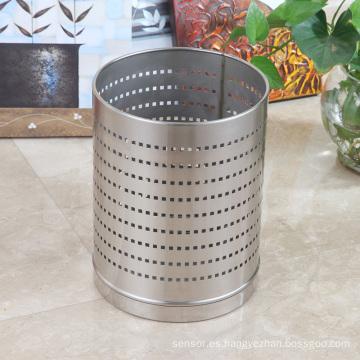 Cubo de basura abierto redondo redondo del agujero 12L del acero inoxidable (J-12LB)