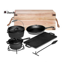 Cast Iron Camping Cookware Set Wooden box