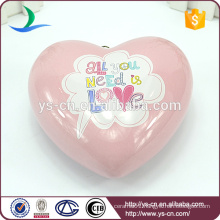 Solid pink love heart shape hanging with hook
