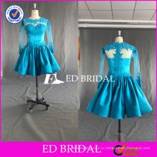 ЭД элегантные Свадебные линии горячей продажи с длинным рукавом видеть сквозь назад кружева аппликация короткий коктейльное платье 2017