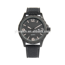 Men's Fashion Business Quartz Watch with Black Leather Strap