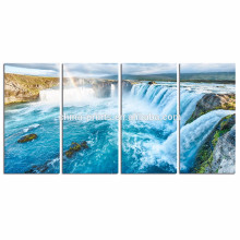 Falls Picture Giclee Print on Canvas/Natural Landscape Canvas Print for Living Room/4 Panel Stretched Canvas Art
