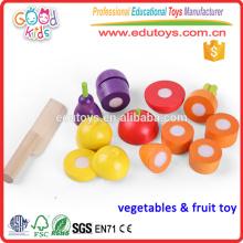 Горячие дети продают притворяться Играть в баклажаны Дети Деревянные игрушки из овощей