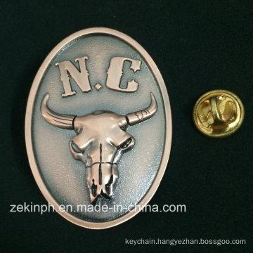 Decorative Antique Metal Ox-Head Metal Pin Badge