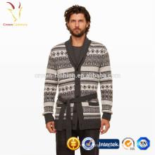 Poncho Neck Men's Intarsia Cardigan Sweater With belt