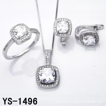 Jóias com diamantes 925 Prata Micro Pave Setting CZ Set.
