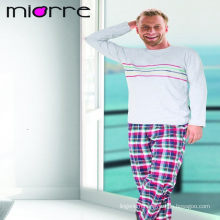 MIORRE OEM MEN'S NEW 2017 COLLECTION ELEGANT LONG SLEEVE PATTERNED TOP & PLAID PATTERNED BOTTOM SLEEPWEAR PAJAMAS SET