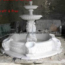 Weiß Carrara Stein Skulptur Wasserbrunnen (SY-F007)
