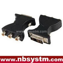 DVI(12+5) male to 3RCA female adapter