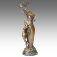 Vase Carving Statue Maiden Dekoration Bronze Skulptur TPE-667