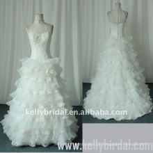 2010 Romantic A-line Ruffle Organza Lace Wedding Dress (KBS03)