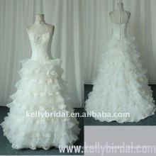 2010 романтик-линии рюшами из органзы кружева свадебное платье (KBS03)