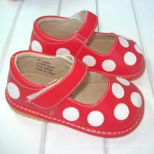 Vermelho com bolinhas brancas Bebê Sapatos ásperos