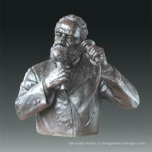 Большая статуя Телефон Белл Бронзовая скульптура Tpls-078