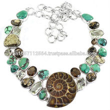 Natural Ammonite Turritella Pyrite Turquoise Green Amethyst & Smoky Quartz Gemstone With 925 Sterling Silver Handmade Necklace