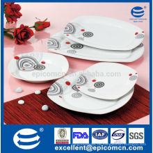 20PC-EX7576 einfaches Abziehbild quadratisches super weißes Porzellan hochwertiges preiswerteres Essgeschirr