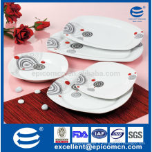 20PC-EX7576 décalque simple carré super blanc porcelaine vaisselle moins chère