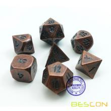 Bescon Antique Copper Solid Metal Polyhedral D&D Dice Set of 7 Old Copper Metal RPG Role Playing Game Dice 7pcs Set