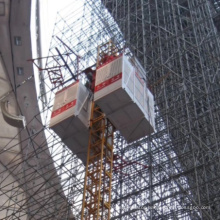 construction hoist with single or double cages for material or passenger
