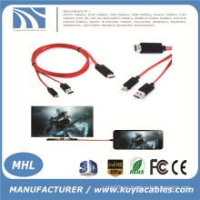 MHL Micro USB a HDMI TV Adaptador de cable AV HDTV para SAMSUNG Galaxy S3 / S4 / Note 2