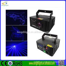 Única cor azul animação luzes laser mostram a luz laser da máquina