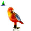 Moda pintados à mão de vidro Peruano Red Yellow Parrot Enfeite de árvore de Natal, Pássaro Tropical