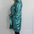 PU azul capucha impermeable para adultos