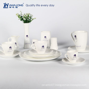 white blue clover fashionable style ceramic tableware bone china dinner set
