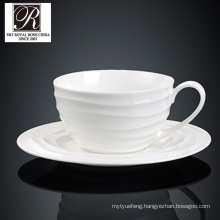 ocean line fashion elegance white porcelain coffee cup&saucer PT-T0608