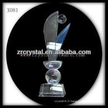 design attrayant blanc trophée de cristal X081