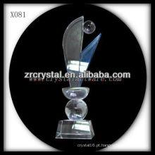 troféu de cristal em branco design atraente X081