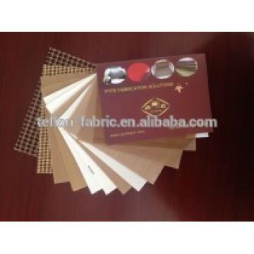 Échantillons gratuits résistant à la chaleur tissu de verre revêtu de PTFE non collant