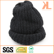 100% Acrylic Winter Warm Black Knitted Hat