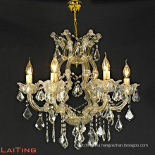 Hot selling iron large hanging candle chandelier glass lighting	85152