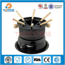 2014 elegant carbon steel fondue set with 6 forks,alcohol fondue set