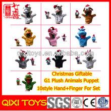 Navidad de felpa felpa animal mano y dedo marioneta para Set