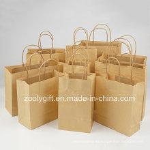 Venta al por mayor barato reciclar marrón kraft bolsa de papel bolsas de regalo con el mango torcido