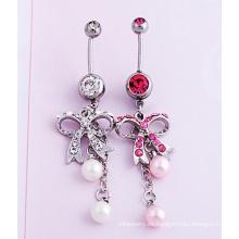 Joyería del ombligo perla diamante arco Piercing joyería de la manera