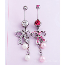 Bow Diamond Pearl Navel Jewelry Piercing Fashion Jewellery