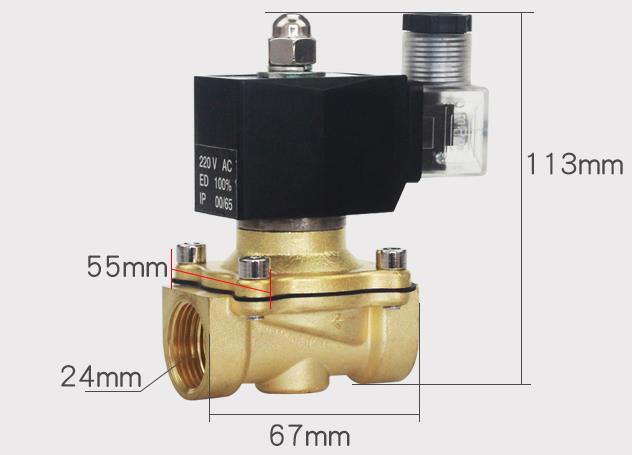 Overall dimension of ADK11-20A/G/N NC Pilot Kick Electromagnetic Valve
