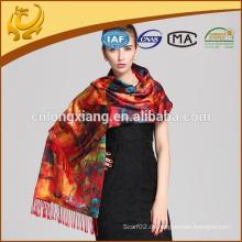Double Layer Digital bedruckte Schals, Großhandel gebürstete Seide Schal Stolen und Schals