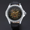 winner rotating men watch skleton design dial with genuine leather band