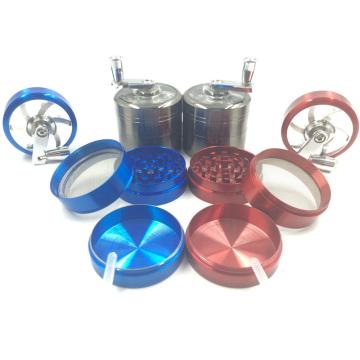 Hochwertige Metall-Zigaretten-Kräuter-Handschleifer mit Handkurbel (ES-GD-001-1)